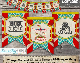 Vintage Carnival Party Banner Birthday - INSTANT DOWNLOAD - Editable & Printable Decoration / Birthday / Baby Shower / Decor / Bunting