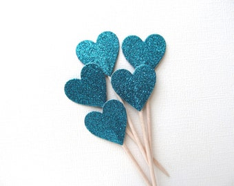 Teal Glitter Heart Cupcake Toppers, Party Decor, Double-Sided, Weddings, Showers, Summer, Love, Set of 15