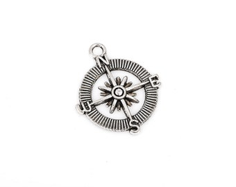 20 bulk package Antiqued Silver Tone Pewter COMPASS Charm Pendants . chs1972