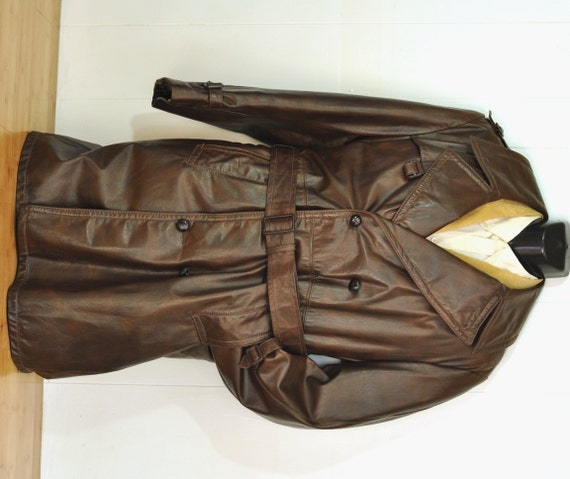 Vintage Brown Leather Trench Coat Mens Long Coat w/ Zip Out
