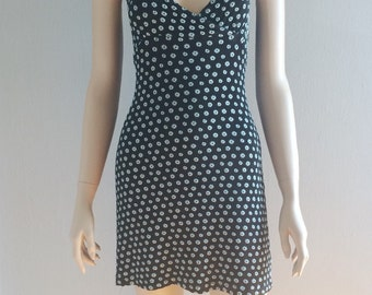 SALE 90s Ditsy White Daisy Print Stretchy Tank Dress Med USA Made