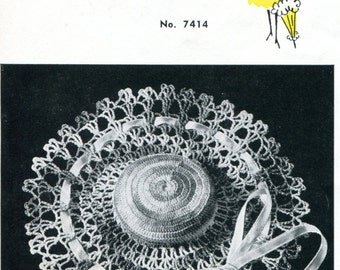1950's Crocheted Lacy Hat  Pincushion Vintage Beauty  PDF Pattern Instant Download