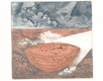 "Fine Art Etching - Ship Flying in a Sea of Clouds - Nautical Decor - Hard Ground Color Intaglio Etching 8""×8"""