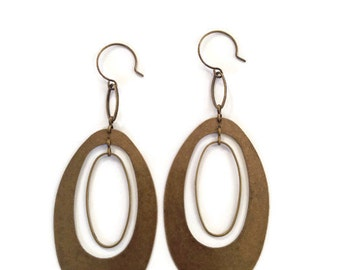 Antique Brass Oval Earrings