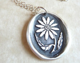Flower wax seal charm jewelry pendant necklace daisy hand crafted from recycled fine silver, custom made to order