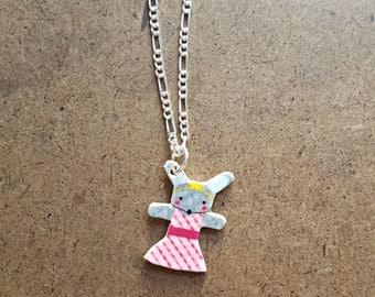 Bunny Princess Necklace | Tiny Rabbit Charm | Woodland Princess Pendant | Little Girls Jewelry | Shrinky Dink Charm | Bunny Rabbit