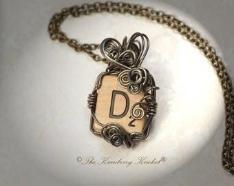 Vintage Scrabble Tile Necklace, Initial D Necklace, Letter D Necklace, , Repurposed necklace