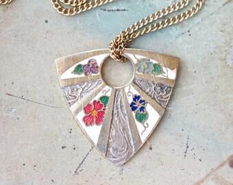 Art Nouveau Enamel Flowers - Long Necklace - Boho Jewelry