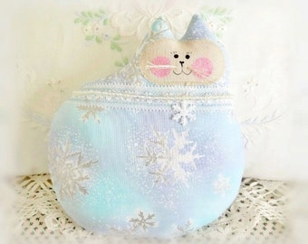 "Winter Cat Doll, Christmas Cat Pillow, Cloth Doll, 7""  Winter Cat,  Aqua w/ Snowflakes, CharlotteStyle Decorative Folk Art"
