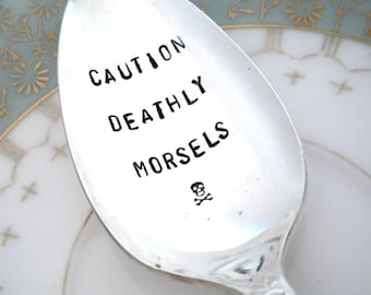 Gothic Spoon with skull and cross - Goth Hand Stamped Spoon - Gothic Tablespoon -  Caution Deathly Morsels - Royal Rose 1939