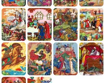 Palekh, Russian Tales. Drawings by Blokhin and Kurkin. Set of 14 Vintage Postcards -- 1960s, Sovetski Khudozhnik Publishers