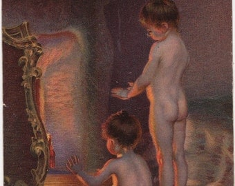 """Signed. Antique Postcard -- Paul Peel """"After the Bath"""" (Children near the fireplace) -- 1922"""