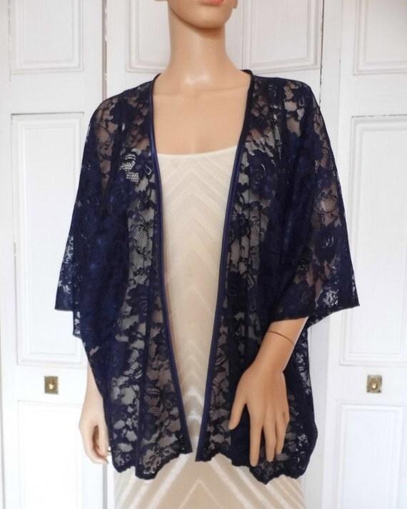 Navy blue lace kimono/jacket/wrap/cover-up/bolero with satin