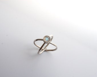 moonstone crossed band ring, crisscross, open x, infinity minimalist sterling silver, rainbow moonstone