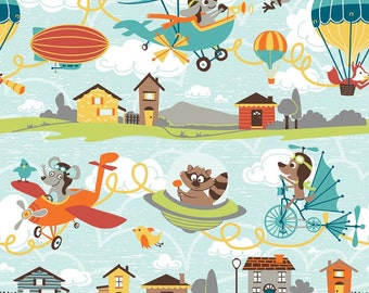 1/2 yard LAMINATED cotton fabric (similar to oilcloth) 18 x 40 - Flyers Flying on blue EXCLUSIVE - Approved for children's products