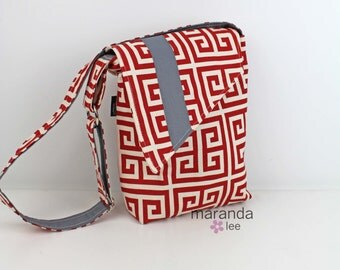 Nori Flap Messenger Slouch Bag with Adjustable Cross Body Bag -Towers Red with Grey -READY to SHIP Aztec Greek iPad Bag