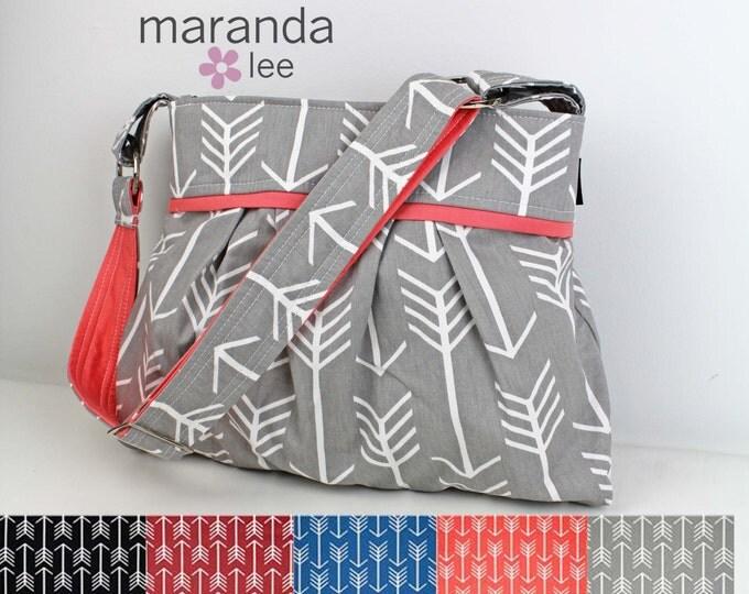 Stella Diaper Bag - Medium -Arrows U CHOOSE with Custom Accent - Nappy Bag  Baby Gear - 6 pockets Adjustable Strap Attach to Stroller