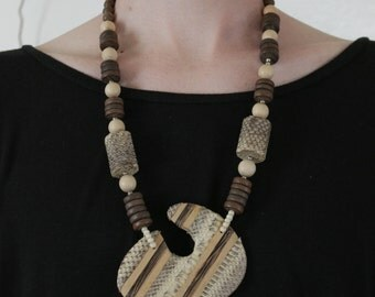 wood & snakeskin necklace
