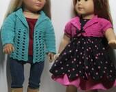 "Shell Stitch Crochet Sweater and Bolero Shrug for 18"" Dolls such as American Girl"
