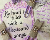 Diamonte Gold Glitter and Lilac Tulle Planner/Journalling Paper Clips
