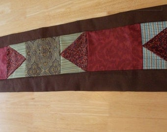 """Reversible Patchwork 13"""" x 54"""" Table Runner Bed Scarf Chocolate Brown, Waterfall Blue, Garnet Red, Natural Florals and Stripes"""