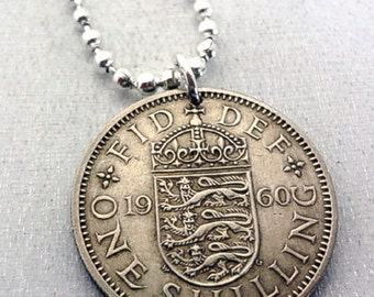 Coin Jewelry. Vintage 1957 1956 1955 BRITISH Shilling coin necklace. English Arms. Lion necklace. English crest. mens necklace. man gift