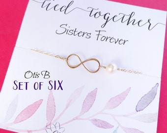Bridal jewlery gift Set of 6: SIX GOLD infinity bracelets, Bridesmaid gifts, friendship bracelets, Sorority Sisters, Bridesmaid cards