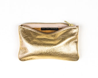 MAE Gold Leather Wallet. Gold Leather Pouch. Metallic Leather Clutch. Gold Leather Clutch.