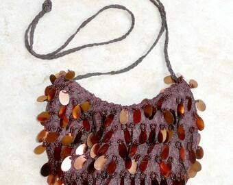 Evening Bag Sequins Bronze Color Brown Beaded Bag Vintage
