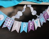 Frozen Happy Birthday Banner, Frozen Birthday Banner, Frozen Banner, Blue Teal Purple Silver