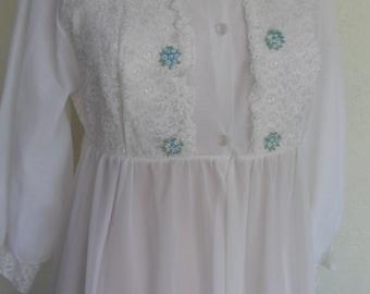 Vintage Robe Sheer Robe Dressing Gown Chiffon White Wedding Bride