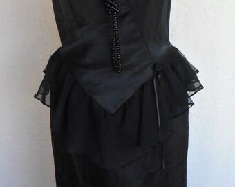 Vintage Satin Black Nightgown Romantic Negligee Chiffon Medium
