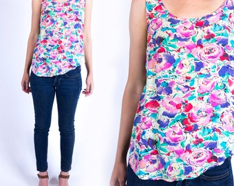 Vintage 1980s Pink Blue and Purple Floral Print Scoop Neck Trapeze Tank Top Size XS or S