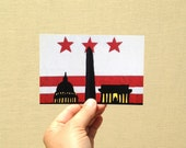 "Postcard ""DC Night Skyline with DC Flag"", 4x6 inches, high gloss, UV protection, professionally printed"