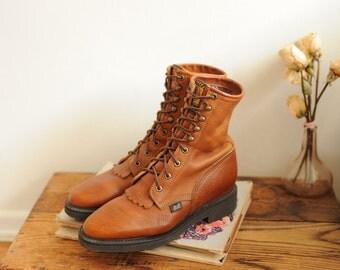 SALE Vintage Justin Brown Pebbled Leather Roper Boots, mens 9 1/2