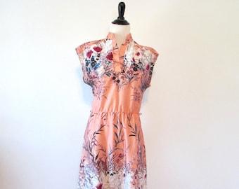 Vintage 1970's Floral Pink Poly Dress Size M/L