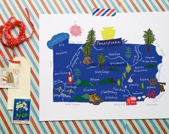 Pennsylvania Illustrated Map- 10x8