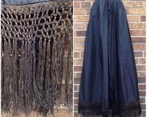 Antique 1890s Victorian Black Taffeta Long Skirt with Silk Embroidery Tassels / Women's Extra Small Waist 25 / A Line Long Fringe Maxi Skirt