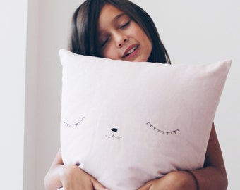 Pillow case // soft pink // birth gift // nursery room decoration // childrens room decoration // hand embroidery face