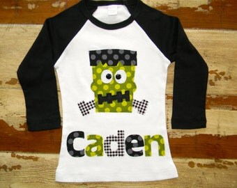Boys Halloween Long Sleeved Personalized Frankenstein Shirt, Size 6-12m to 12yrs