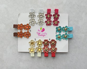 Baby Hair Clips - You Pick Two Flower Clips - Baby Hairbows - Baby Bows - Toddler Hair Clips - Flower Hair Clips - Baby Hair Accessories