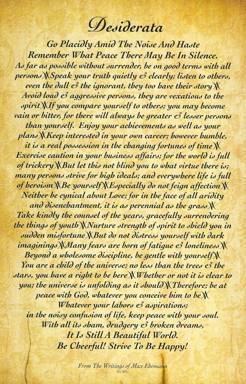 Unforgettable image in desiderata printable