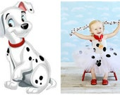 WHOLE OUTFIT 101 Dalmatian Firemans K-9 Puppy Dog Inspired Tutu Dress Headband SET Birthday Dress Up Outfit Halloween Costume