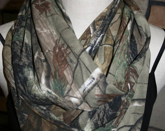 """Camo Infinity Scarf Jersey Knit Camoflouge Circle loop scarf  8.5"""" x 64"""" L -Hunting-Realtree-Hunting Scarf"""