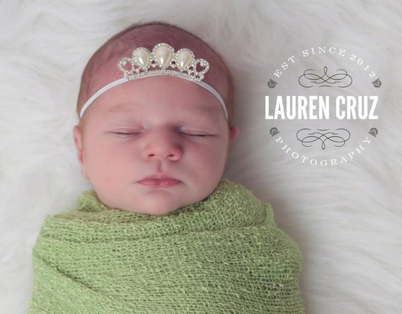 Pearl and Rhinestone crown on skinny elastic. Use as a crown for newborn photos.