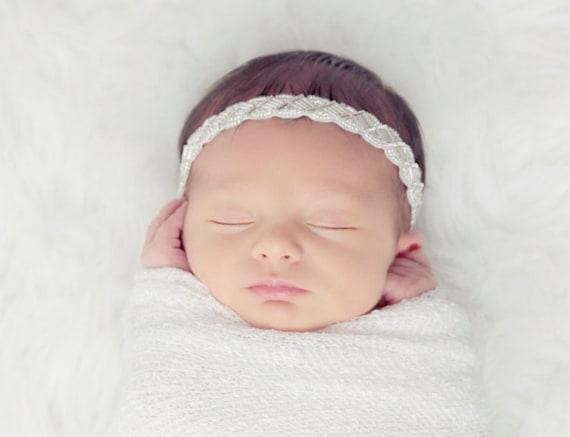White Newborn Baby Swaddle Wrap AND / OR Headband with Beaded Rhinestone Headband, newborns, bebe, foto, photo shoots by Lil Miss Sweet Pea