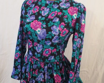 NEW ROMANTIC Lanz floral dress - full skirt - black pink purple sz XS