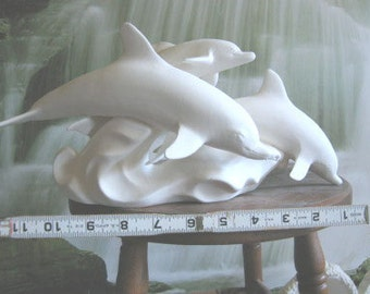 Graceful, leaping Dolphins, Dolphin Family, Sea Animals, Ocean Fish, Ready to paint, Dolphins playing, Ceramic bisque,Ready to paint,U-paint