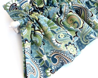 FOREST GLEN Valance Curtains Blue Green Teal Brown Tan Paisley Flowers Leaves  53 inches wide