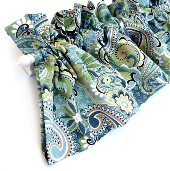 BY THE YARD Fabric Forest Glen Paisley Green Blue Dark Brown